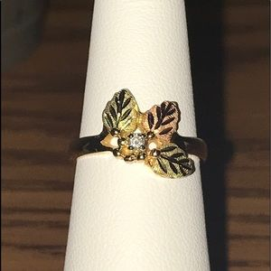 10k Diamond Black Hills Gold Ring
